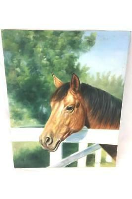 Original Oil Painting Signed Light Brown Horse w Fence by Rose M. Sullivan 2003