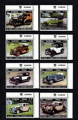 Ajman - 1970 - Classic Car Rally - Benz - Maybach - Fiat + 8 X Mnh Margin Set!