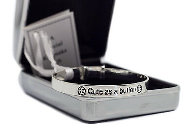 Cute as a Button Baby Bracelet & Personalised Engraved Gift Box Christening Gift