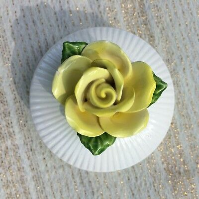 1975 FITZ AND FLOYD Trinket Box YELLOW ROSE on Lid EXCELLENT Condition
