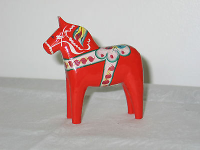 "Vintage 4"" Red Nils Olsson Swedish Dala Horse Hand Carved Wood Folk Art Figurine"