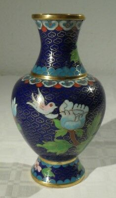 alte CLOISONNE BLUMENVASE Asien Messing China Emaille florale Muster Metall