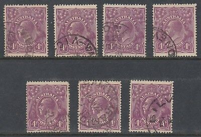 1921 4d VIOLET KGV, Single Watermark, 7 stamps USED