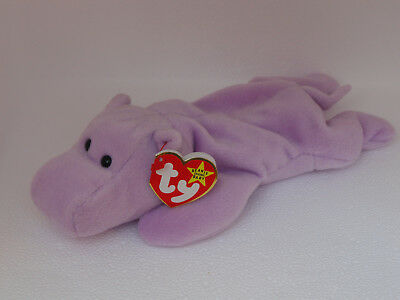 Original Retired Ty Beanie Baby Happy the Hippo Lavender 1994 -1993 tag  ERROR ed5c9c023a7b