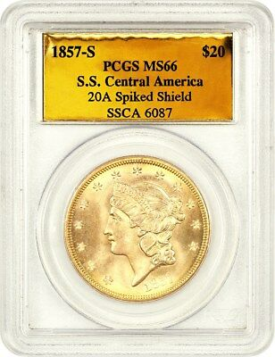 1857-S S.S. Central America Shipwreck $20 PCGS MS66 (Spiked Shield)
