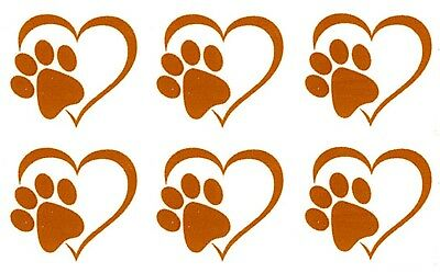 "6 Heart Paw Print 1"" X 1-1/8"" Gold Fused Glass Decals 18CC988"