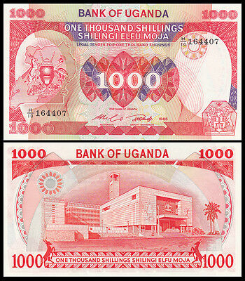 Africa - Uganda 1000 Shillings Paper Money,1986,P-26,Uncirculated .1Pieces