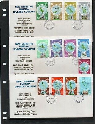 NEW HEBRIDES (now Vanautu) 1977 defins set/13 on 3  FDC  FRENCH ISSUE