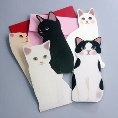 Lovely Cat Kitten Blank Greeting Cards With Envelope Christmas Festival Gifts