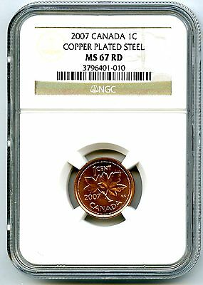 2007 Canada Cent Ngc Ms67 Rd Copper Plated Magnetic Steel High Grade Rare !!