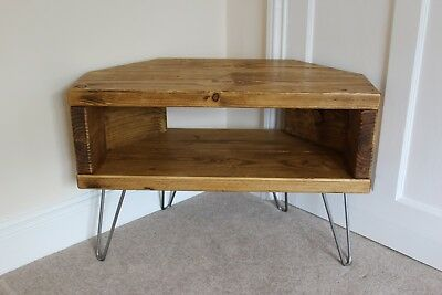 best website 86c14 63b19 RUSTIC RECLAIMED WOODEN corner TV Unit stand In oak Wax with hairpin legs
