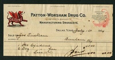 1904 Antique Medical Billhead  Patton-Worsham Drug Co Dallas Texas Oxidine