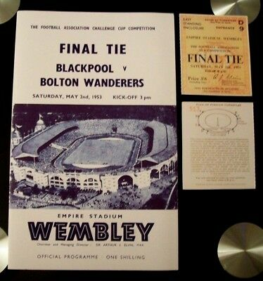 1953 F A Cup final programme & Ticket Blackpool v Bolton Wdrs. United Mint con