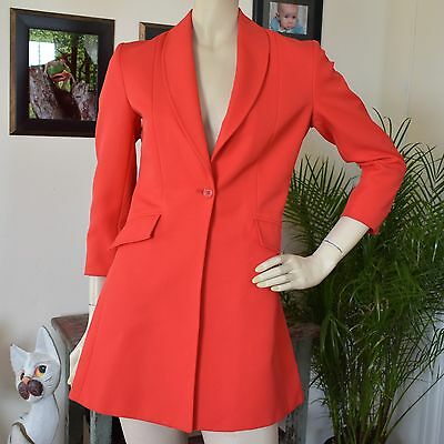 Vintage 70s Lipstick Red Polyester riding Jacket Blazer Made England Hartmeyer S