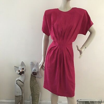 Vintage 1980s Magenta Pleated Pencil Sheath Versatile Day To Evening Dress M/L