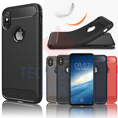 For iPhone X & iPhone Xs - Shockproof Carbon Fiber Soft TPU Hybrid Case Cover
