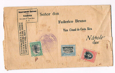Costa Rica Cover 1900s to Italy with 3 Stamps Official