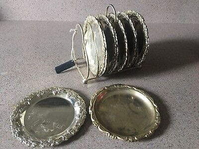 "Vintage TREMPEST SILVER Silver Plated Set (12) Round 4"" Coasters & Holder ITALY"