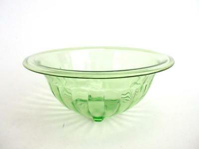"Vintage Emerald GREEN DEPRESSION GLASS Bowl 8"" Ribbed Pattern Candy Dish"