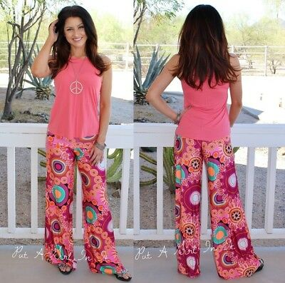 "J UP FOLD OVER /""PURPLE RAIN/"" HIPPIE 70s PSYCHEDELIC TALL PALAZZO PANTS S M L USA"