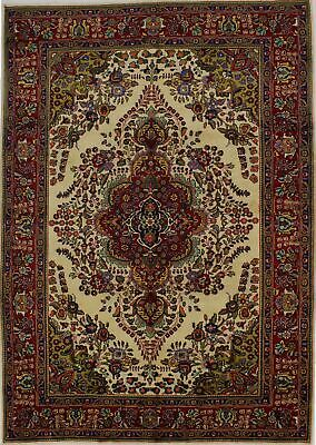 Enchanting Colorful S Antique Rare Ivory Oriental Rug Persian Area Carpet 7X10