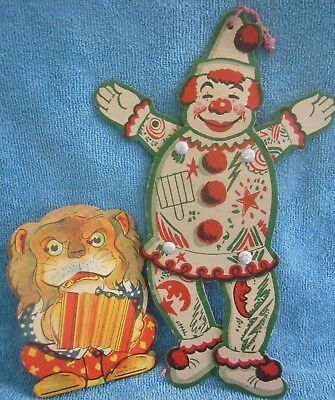vintage 1930s CARDBOARD  PAPER TOYS Clown Puppet & Accordion LION