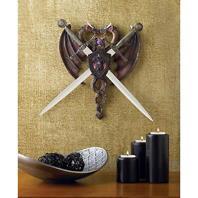 DRAGONS: Sword And Dragon Coat of Arms Wall Plaque Crest NEW