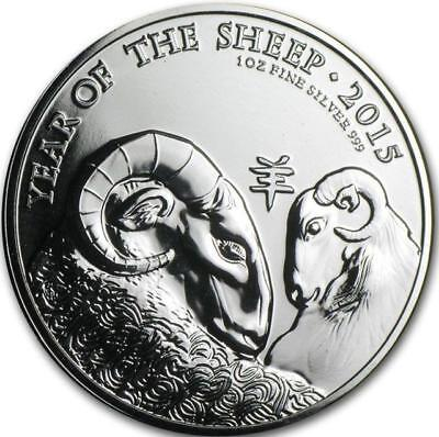 Great Britain - 2015 1 oz Silver Coin - Year of the Sheep .999 BU