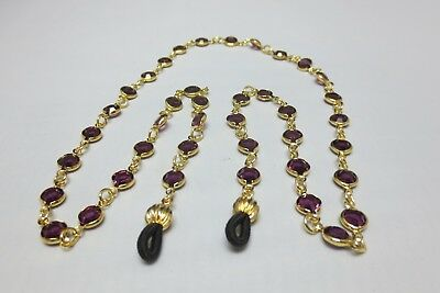 "14Kt Gold Ep 24"" Amethyst Sm Stone Austrian Crystal Necklace  Eyeglass Holder"