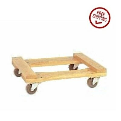 """Oak Wood Open Movers Dolly 18"""" w x 30"""" l 800# Cap with Soft Gray Rubber Wheels"""