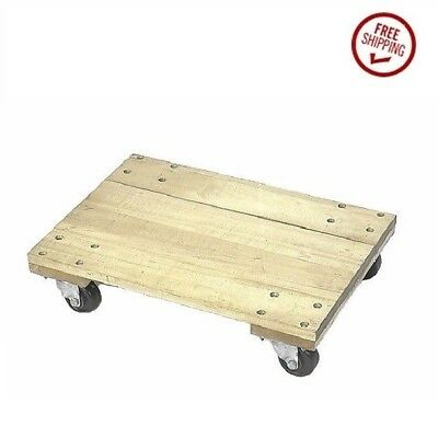 """Oak Solid Top 3"""" Hard Rubber Wheel Movers Dollie 1000 lbs. Capacity 18 x 30"""