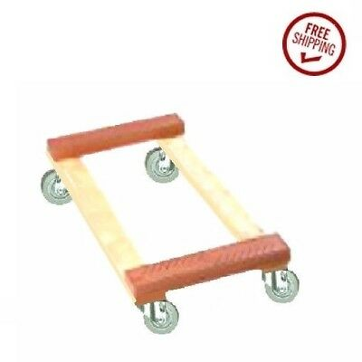"""Heavy Duty Oak Rubber Ends 3-1/2"""" Rubber Wheel Movers Dollie Protects furniture"""