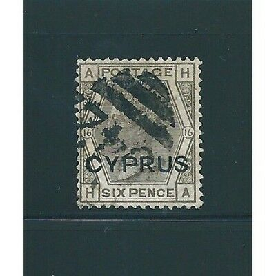 1880 Cipro Cyprus 6 Pence Grey Olive 1 V Used Cert Diena And Caffaz Mf12670