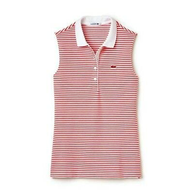 5cc2c82bf NEW LACOSTE PIQUE Sleeveless Polo Shirt Red Sz 40 -8 Collared ...