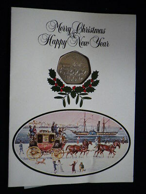 Isle of Man 1980 Silver Proof Christmas 50p In Original Card        ...890