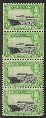 ST.LUCIA SG113a 1936 ½d MNH VERTICAL COIL STRIP OF 4 WITH COIL JOIN