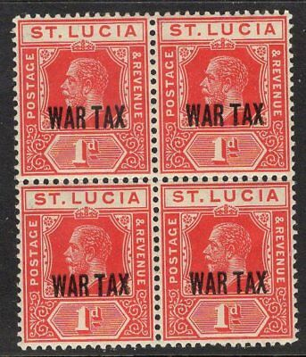 ST.LUCIA SG90 1916 1d SCARLET MTD MINT BLOCK OF 4