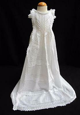 Antique Victorian Christening Gown Dress - Embroidered Whitework - Princess Line