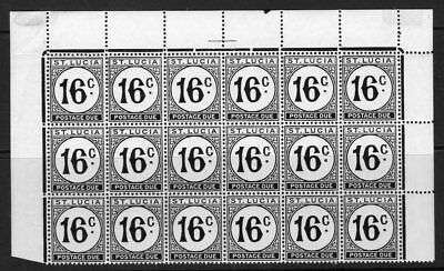 ST.LUCIA SGD10a 1952 16c POSTAGE DUE CHALKY PAPER MNH BLOCK OF 18 MTD IN MARGIN