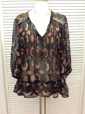 a5dfe5fdeb8 BOBEAU NORDSTROM WOMENS Plus Size Multi color Print High Low Sheer ...