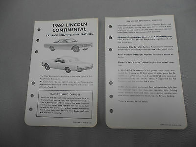 Vintage 1968 Lincoln Continental and 1968 Continental Mark III Literature