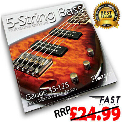 "ADAGIO ""5 String"" Bass Guitar Strings (45-125 Regular) Nickel - FAST POSTAGE"