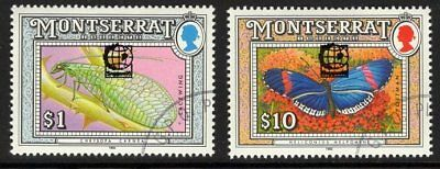 MONTSERRAT SG898+904var 1995 INSECTS OVERPRINTED SINGAPORE 96 FINE USED