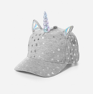 Justice Girl's Silver UNICORN HORN Star Baseball Cap New with Tags