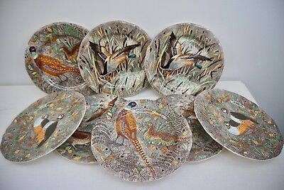 Gien Rambouillet French Faience Majorica Dinner Plates Game Birds Hand Painted