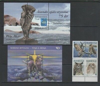 Aland Islands 1996 Eagle Owls Booklet Stamps, 1997 & 2004 Mini Sheets, Mint MNH