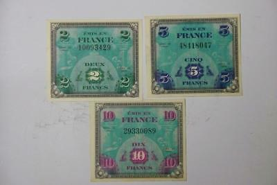 SET OF THREE 2,5,10 FRANCS MILITARY PAYMENT CERTIFICATE SERIES 1944 #1516 glb