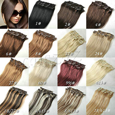 Clip in Real Remy 100% Human Hair Human Hair Extensions 70g 15inch 7pcs Set