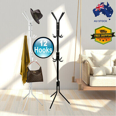 12 Hook 3-Tier Hat Coat Clothes Rack Umbrella Stand Tree Style Steel Hanger New