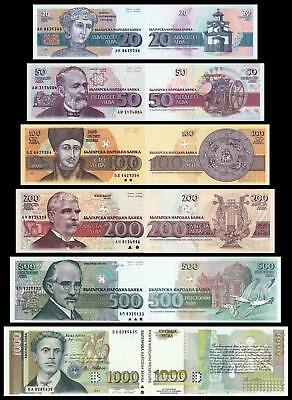 Set of 6Pcs Bulgaria 20+50+100+200+500+1000 Leva Paper Money Uncirculated